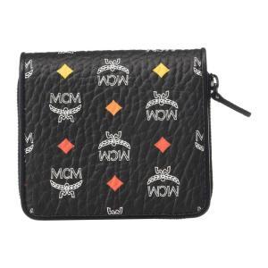 エムシーエム MCM メンズ 財布 Spektrum Visetos Zipped Wallet Mini Spectrum Diamond Black|fermart2-store