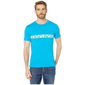 ヒューゴ ボス BOSS Hugo Boss メンズ Tシャツ トップス T-Shirt with Boss Logo Turquoise/Aqua|fermart2-store