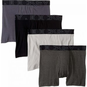 ジョッキー Jockey メンズ ボクサーパンツ インナー・下着 Active Blend Boxer Brief 4-Pack Quartz Grey/Trusted Pewter/Charcoal Heather/Black|fermart2-store