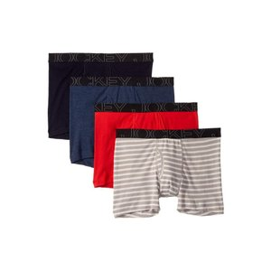 ジョッキー Jockey メンズ ボクサーパンツ インナー・下着 Active Blend Boxer Brief 4-Pack Quartz Grey Stripe/Rough Sea Blue/Racing Red/Navy Heather|fermart2-store