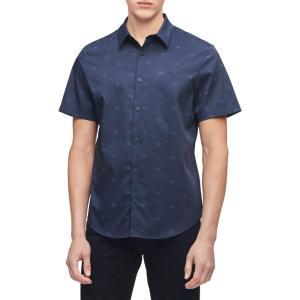 カルバンクライン Calvin Klein メンズ 半袖シャツ トップス Short Sleeve Monogram Stretch Casual Button-Down Shirt Sky Captain fermart2-store