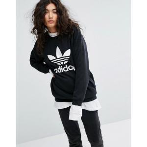 【残り1点!】【サイズ:UK10】アディダス Adidas レディース トップス スウェット・トレーナー Trefoil Sweatshirt In Black|fermart2-store