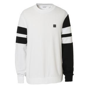 【即納】カルバンクライン Calvin Klein メンズ スウェット・トレーナー トップス DOUBLE BAR SLEEVE STRIPE WIDE 40M6951 white combo 袖ライン バイカラー fermart2-store