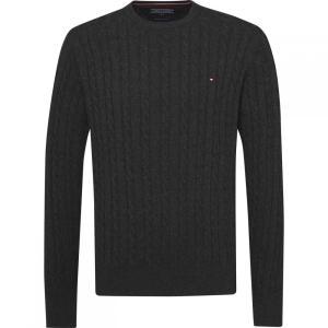 トミー ヒルフィガー Tommy Hilfiger メンズ ニット・セーター トップス Classic Cable Knit Sweater Dark Grey|fermart3-store