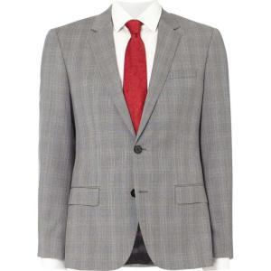 ヒューゴ ボス Hugo メンズ スーツ・ジャケット アウター Henry Slim Grey Prince of Wales Check Suit Jacket Grey|fermart3-store