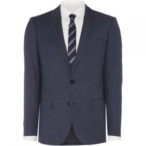 ヒューゴ ボス Hugo メンズ スーツ・ジャケット アウター Huge Cross Hair Pattern Slim Fit Suit Jacket Blue|fermart3-store