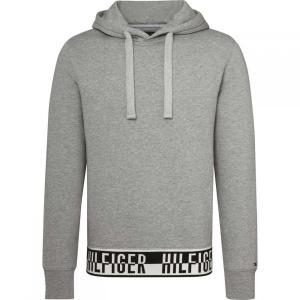 トミー ヒルフィガー Tommy Hilfiger メンズ パーカー トップス Logo Rib Hoody Grey|fermart3-store