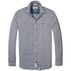 トミー ヒルフィガー Tommy Denim メンズ トップス Gingham Check Shirt Navy|fermart3-store