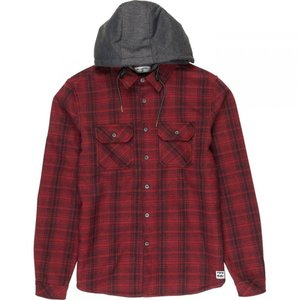ビラボン Billabong メンズ トップス Bonded Yarn Dye Check Flannel Hooded Shirt Blood|fermart3-store