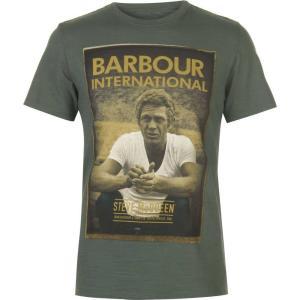 バーブァー Barbour International メンズ Tシャツ トップス Barbour Steve McQueen Relax T Shirt Washed Khaki|fermart3-store