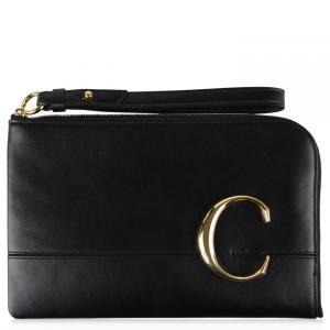 クロエ Chloe レディース ボディバッグ・ウエストポーチ バッグ Classic C Leather Pouch Bag Black|fermart3-store