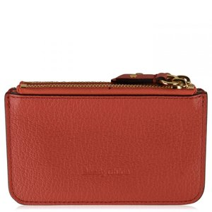 クロエ See By Chloe レディース カードケース・名刺入れ Larry Zip Card Holder Wooden Pink AL|fermart3-store