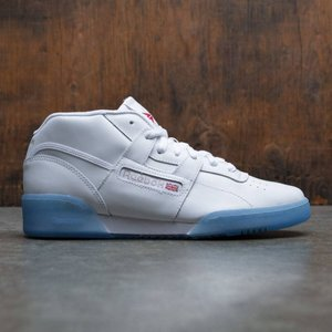 リーボック Reebok メンズ スニーカー シューズ・靴 Workout Mid Clean BWI white / steel / excellent red / shinho|fermart3-store