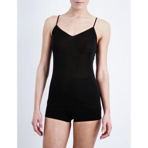 ハンロ HANRO レディース インナー トップのみ Pure silk vest top Black fermart3-store