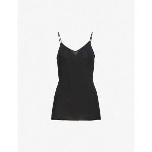 ハンロ HANRO レディース インナー トップのみ Seamless cotton camisole Black fermart3-store