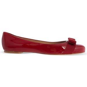 サルヴァトーレ フェラガモ SALVATORE FERRAGAMO レディース シューズ・靴 フラット Varina patent-leather ballet flats Red|fermart3-store