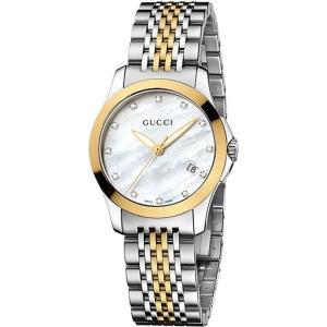 グッチ gucci レディース 腕時計 ya126513 g-timeless stainless steel and yellow-gold pvd watch Mother-of-pearl|fermart3-store