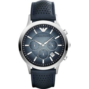 アルマーニ emporio armani メンズ 腕時計 ar2473 stainless steel leather strap watch Blue|fermart3-store
