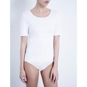 ハンロ HANRO レディース インナー トップのみ Soft Touch cotton t-shirt White fermart3-store