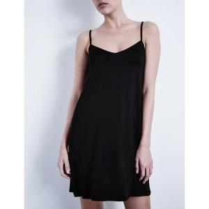 ハンロ HANRO レディース インナー パジャマ Deluxe satin nightdress Black fermart3-store