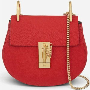 クロエ CHLOE レディース ショルダーバッグ バッグ Drew mini leather cross-body bag Plaid red|fermart3-store
