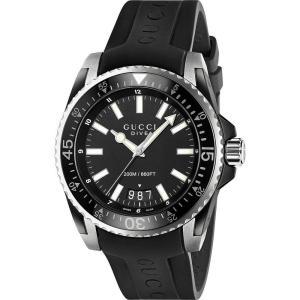 グッチ gucci メンズ 腕時計 ya136204 dive stainless steel and rubber watch Black|fermart3-store