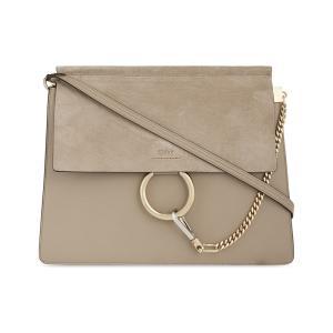 クロエ CHLOE レディース ショルダーバッグ バッグ Faye leather & suede cross-body bag Motty grey|fermart3-store
