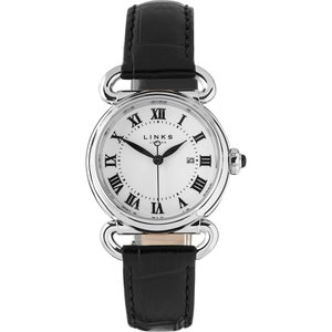 リンクス オブ ロンドン メンズ 腕時計 driver stainless steel and leather round watch Black|fermart3-store