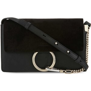 クロエ CHLOE レディース ハンドバッグ バッグ Faye small leather & suede satchel Black|fermart3-store