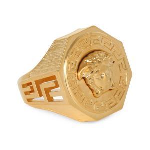 ヴェルサーチ メンズ 指輪・リング ジュエリー・アクセサリー medusa greca gold-plated ring Gold|fermart3-store