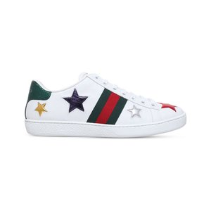 グッチ gucci レディース スニーカー シューズ・靴 new ace star-detail leather trainers White/oth|fermart3-store