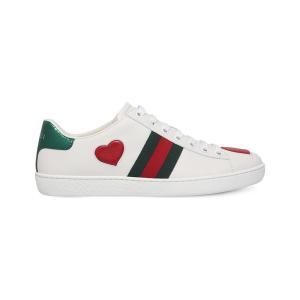 グッチ gucci レディース スニーカー シューズ・靴 new ace heart-detail leather trainers White/red fermart3-store
