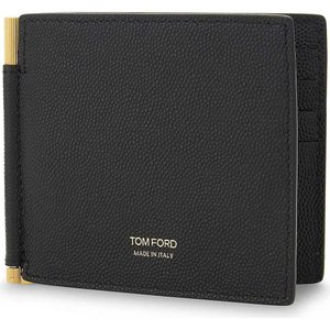 トム フォード メンズ マネークリップ textured leather money clip wallet Black|fermart3-store