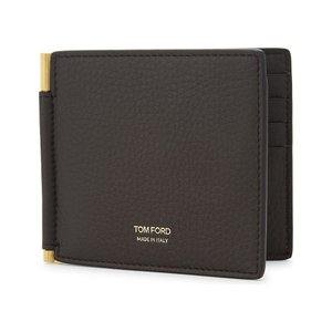 トム フォード メンズ マネークリップ textured leather money clip wallet Dark chocolate|fermart3-store