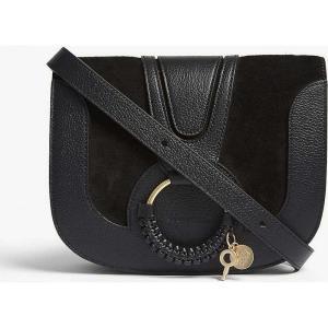 クロエ see by chloe レディース ショルダーバッグ バッグ hoop leather saddle bag Black|fermart3-store