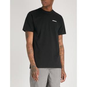 パタゴニア メンズ Tシャツ トップス logo-print recycled cotton-blend t-shirt Black|fermart3-store