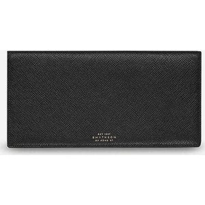 スマイソン メンズ 財布 panama slim grained-leather travel wallet Black|fermart3-store