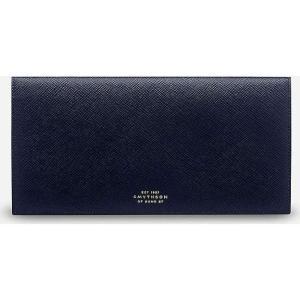スマイソン メンズ 財布 panama cross-grained slim leather travel wallet Navy|fermart3-store