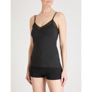 スロッギ レディース スリップ・キャミソール インナー・下着 silhouette v-neck stretch-jersey cami top Black|fermart3-store