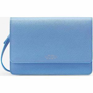 スマイソン smythson レディース 財布 panama cross-grained leather purse with strap Nile blue|fermart3-store