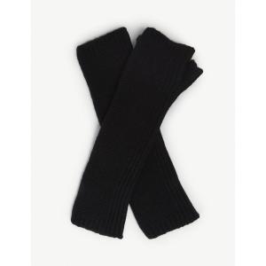 ジョンストンズ johnstons レディース 手袋・グローブ purl stitch cashmere wristwarmers Black|fermart3-store