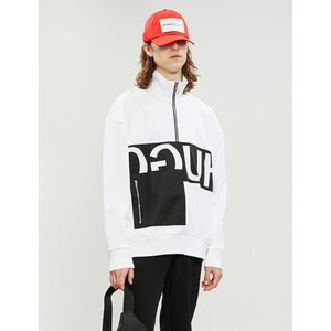 ヒューゴ ボス hugo メンズ スウェット・トレーナー トップス logo-print cotton-jersey sweatshirt White|fermart3-store