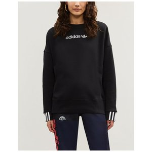 アディダス adidas originals レディース スウェット・トレーナー トップス coeeze logo-embroidered cotton-jersey sweatshirt Black|fermart3-store