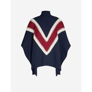 クロエ SEE BY CHLOE レディース ポンチョ アウター Chevron pattern wool-blend cape Ink navy fermart3-store