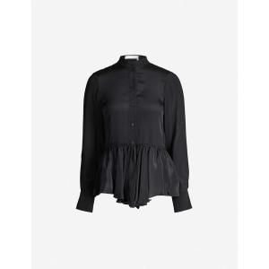 クロエ SEE BY CHLOE レディース ブラウス・シャツ トップス Peplum-hem crepe blouse Black|fermart3-store