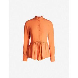 クロエ SEE BY CHLOE レディース ブラウス・シャツ トップス Peplum-hem crepe blouse Chestnut orange|fermart3-store