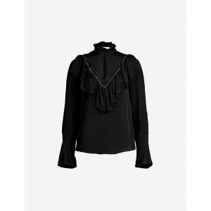 クロエ SEE BY CHLOE レディース ブラウス・シャツ トップス High-neck cutout-front crepe blouse Black|fermart3-store