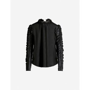 クロエ SEE BY CHLOE レディース ブラウス・シャツ トップス Ruched-sleeve crepe blouse Black|fermart3-store