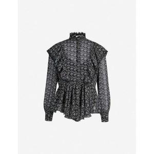 クロエ SEE BY CHLOE レディース ブラウス・シャツ トップス High-neck floral-print crepe shirt Black white|fermart3-store