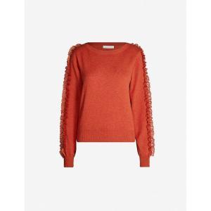 クロエ SEE BY CHLOE レディース ニット・セーター トップス Ruffled-sleeves round-neck cotton-blend jumper Rooibos orange|fermart3-store